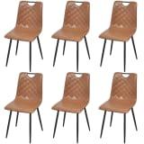 vidaXL Valgomojo kėdės, 6vnt., šviesiai ruda, dirbtinė oda