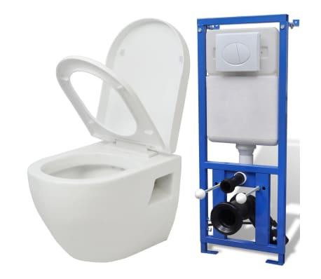 acheter vidaxl wc suspendu en c ramique blanc pas cher. Black Bedroom Furniture Sets. Home Design Ideas