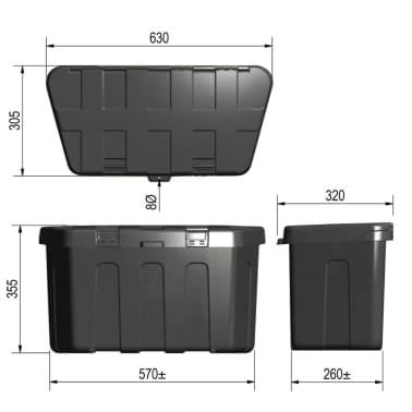 Coffre plastique pour timon 320 x 630 x 355 mm ProPlus 340061[5/5]