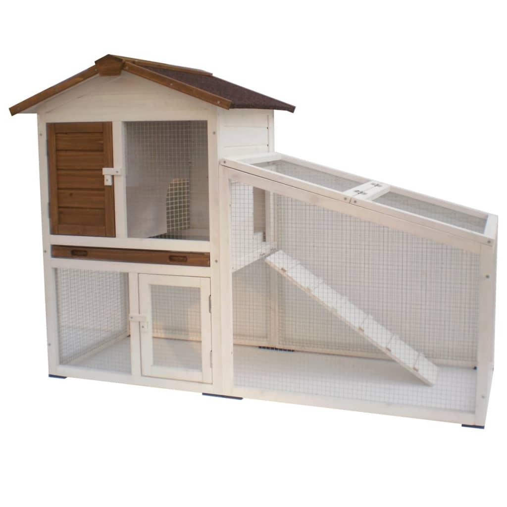 @Pet Cușcă pentru iepuri Tommy Alb și maro 140 x 65 x 100 cm 20072 vidaxl.ro