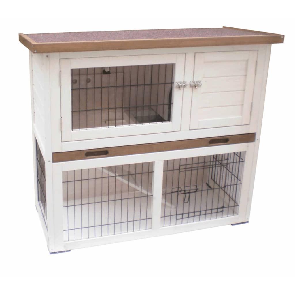 @Pet Cușcă pentru iepuri Kiki, alb și maro, 92 x 45 x 80 cm, 20077 vidaxl.ro