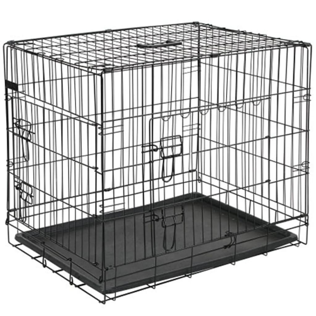 @Pet Cușcă transport câini Metal 107x70x77,5 cm Negru, 15004 poza vidaxl.ro