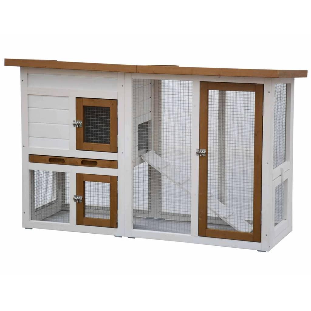 @Pet Cușcă de iepuri Norma, alb și maro, 26011 vidaxl.ro