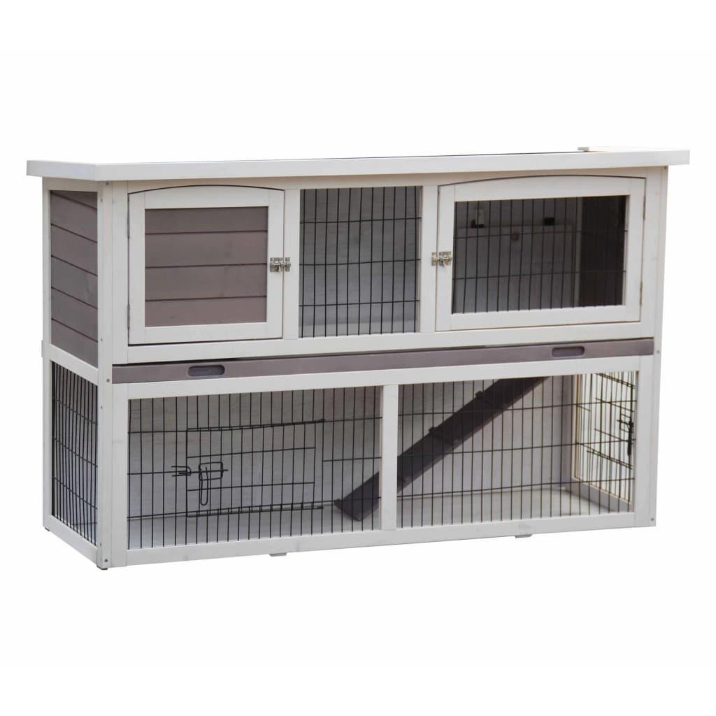 @Pet Cușcă de iepuri Bigfoot, alb, 137 x 50 x 85 cm, lemn 26024 vidaxl.ro
