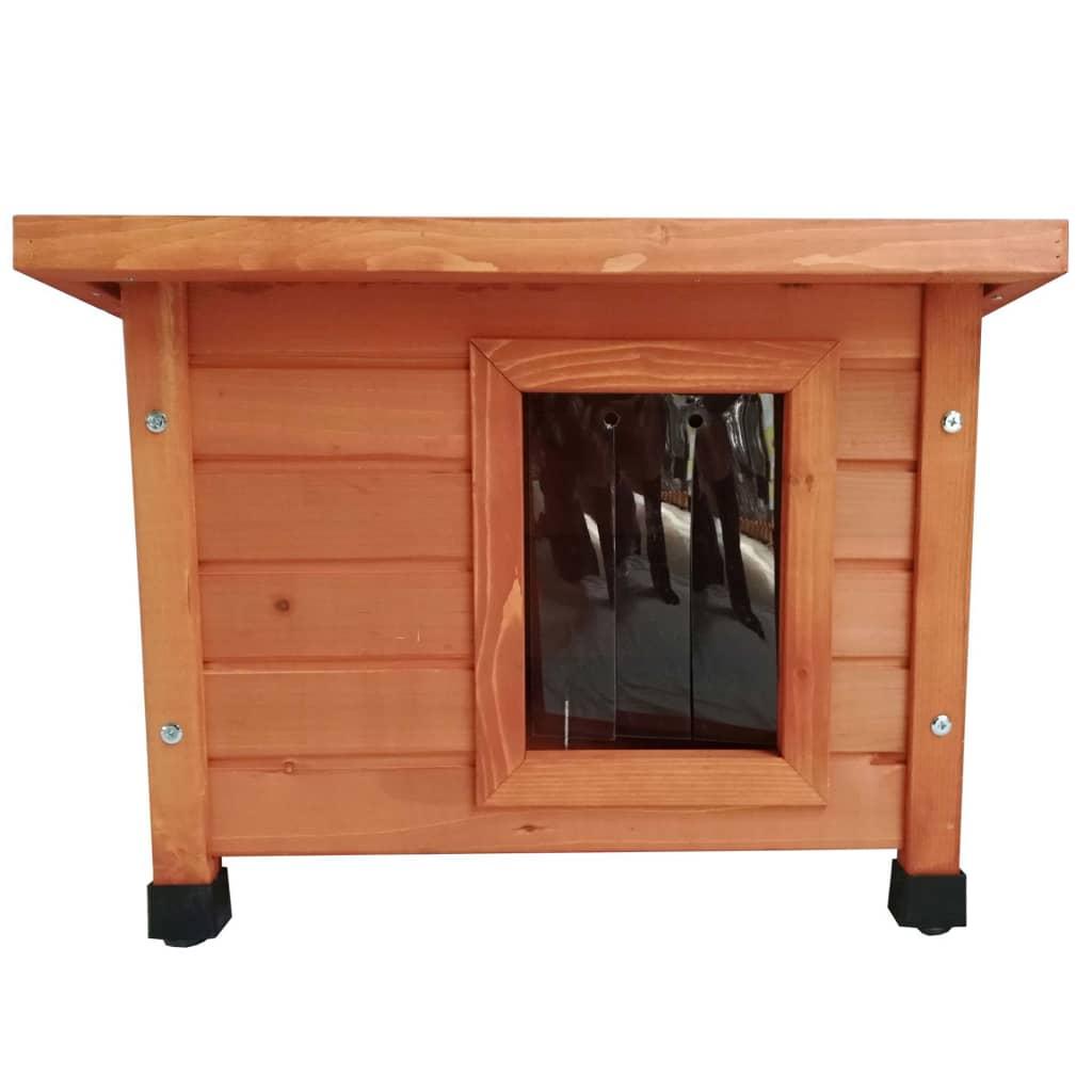 430687 @Pet Casă de pisici de exterior, maro, lemn imagine vidaxl.ro