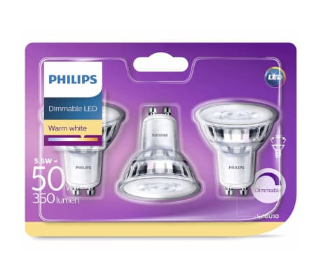 Philips Ampoule LED de projecteur 3 pcs 5,5 W 350 Lumens 929001364186[1/5]