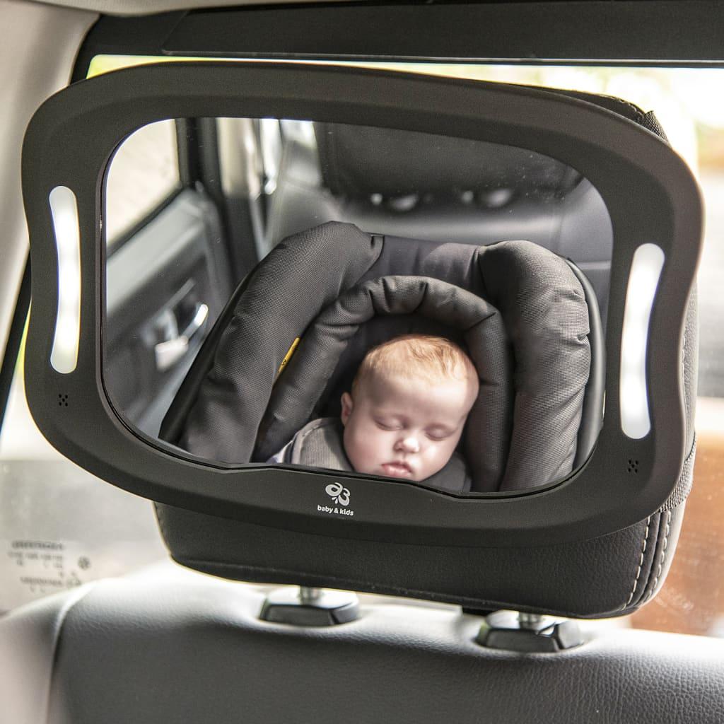 99427272 A3 Baby & Kids Baby-Autospiegel mit LED 28,5×21,4×8 cm Schwarz