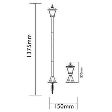 Luxform Lampe LED solaire de jardin à piquet Casablanca Noir 31159[7/7]