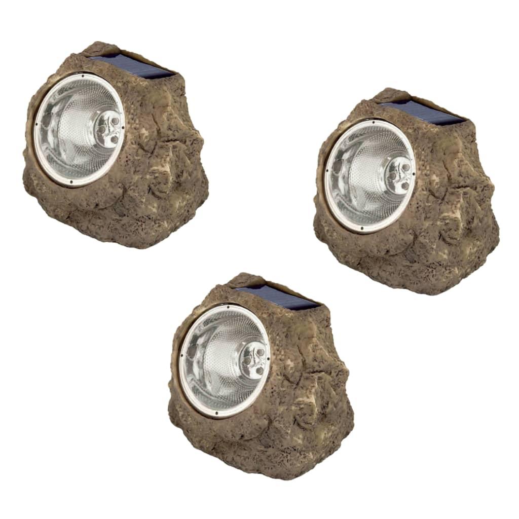 Luxform Lămpi solare cu LED în formă de piatră de grădină Andes 3 buc. imagine vidaxl.ro