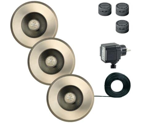 Luxform spot enterr de jardin darwin 3 pcs 12 v argent 81395 for Eclairage jardin enterre