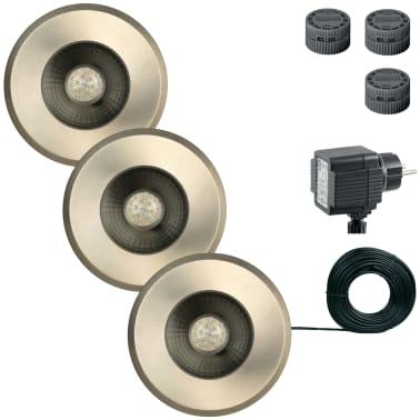 Luxform Spot enterré de jardin Darwin 3 pcs 12 V Argenté 81395[2/7]