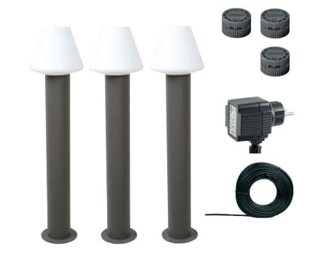 Luxform Borne d'éclairage Melville 3 pcs 12 V 60 cm Anthracite 89326[3/9]