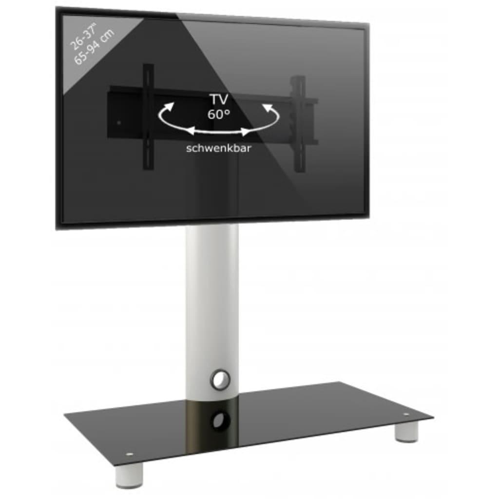 VCM TV meubel standaard Standol, verrijdbaar (Zilver/zwart glas)