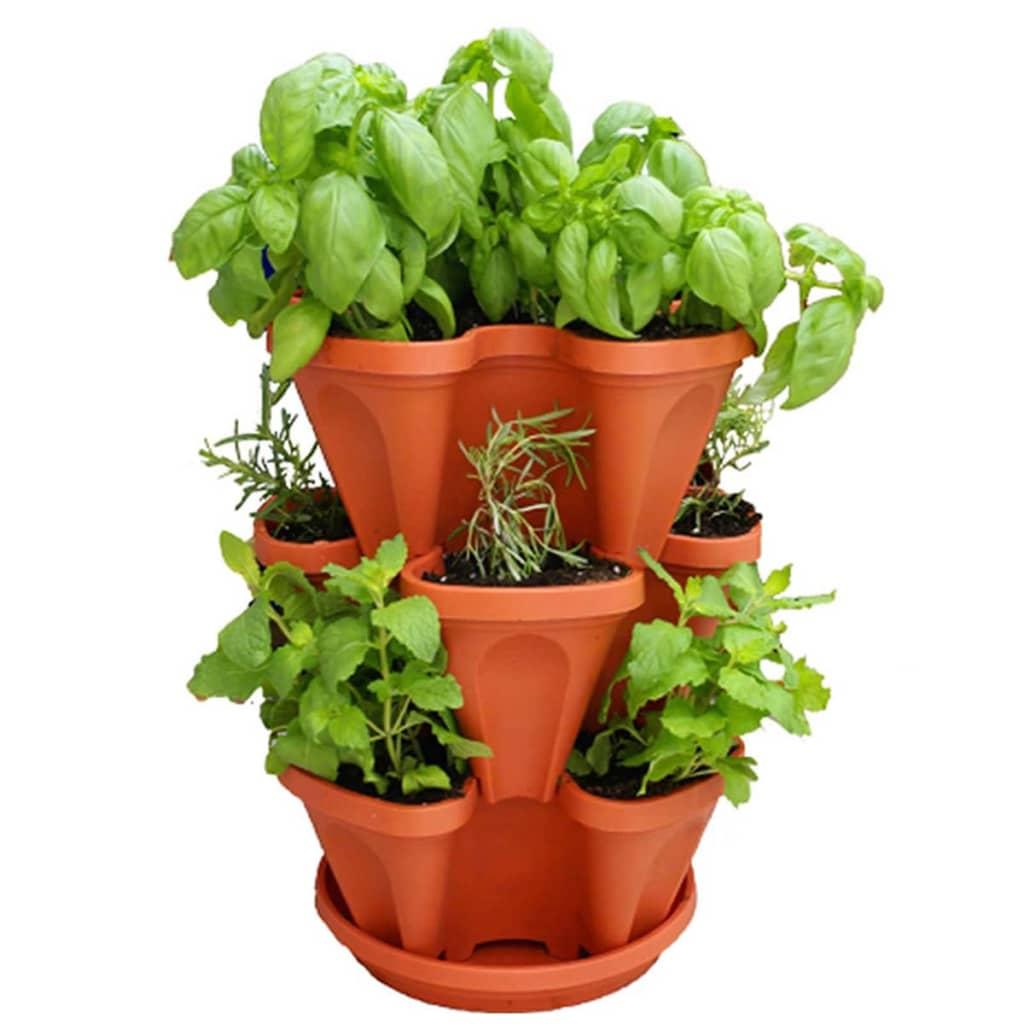 Afbeelding van Brandless Stapelbare plantenbakken Flower Tower terracotta 3 st STP001