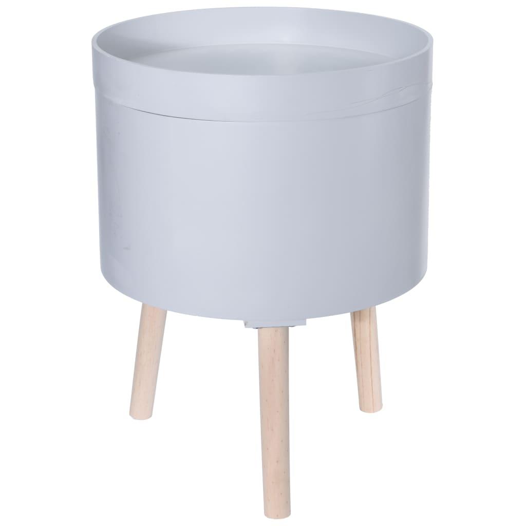 Home&Styling Home&Styling Stolik boczny ze schowkiem, MDF i drewno, szary