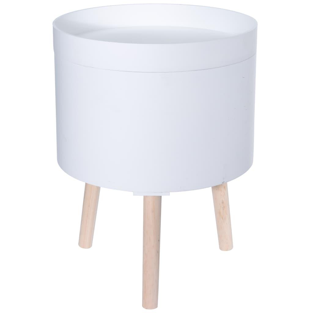 Home&Styling Home&Styling Stolik boczny ze schowkiem, MDF i drewno, biały