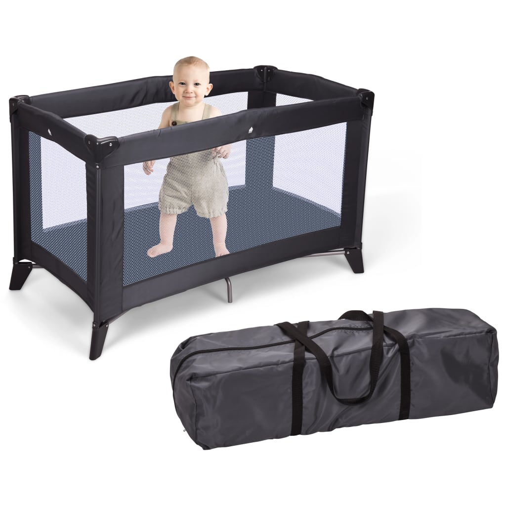 Home&Styling Pătuț de copil pliabil cu saltea, gri închis vidaxl.ro