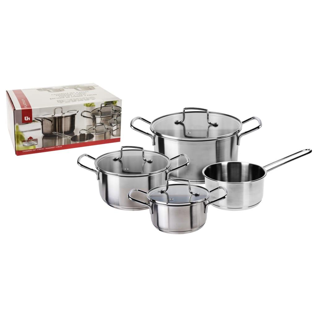 Excellent Houseware 4 delige Kookpannenset roestvrij staal zilverkleur
