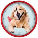 Studio Pets Wandklok Golden Retriever 25 cm rood