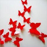 3D vlinder Rood - 12 stuks