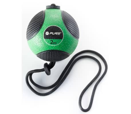 Pure2Improve Medisinball med tau 2 kg grønn