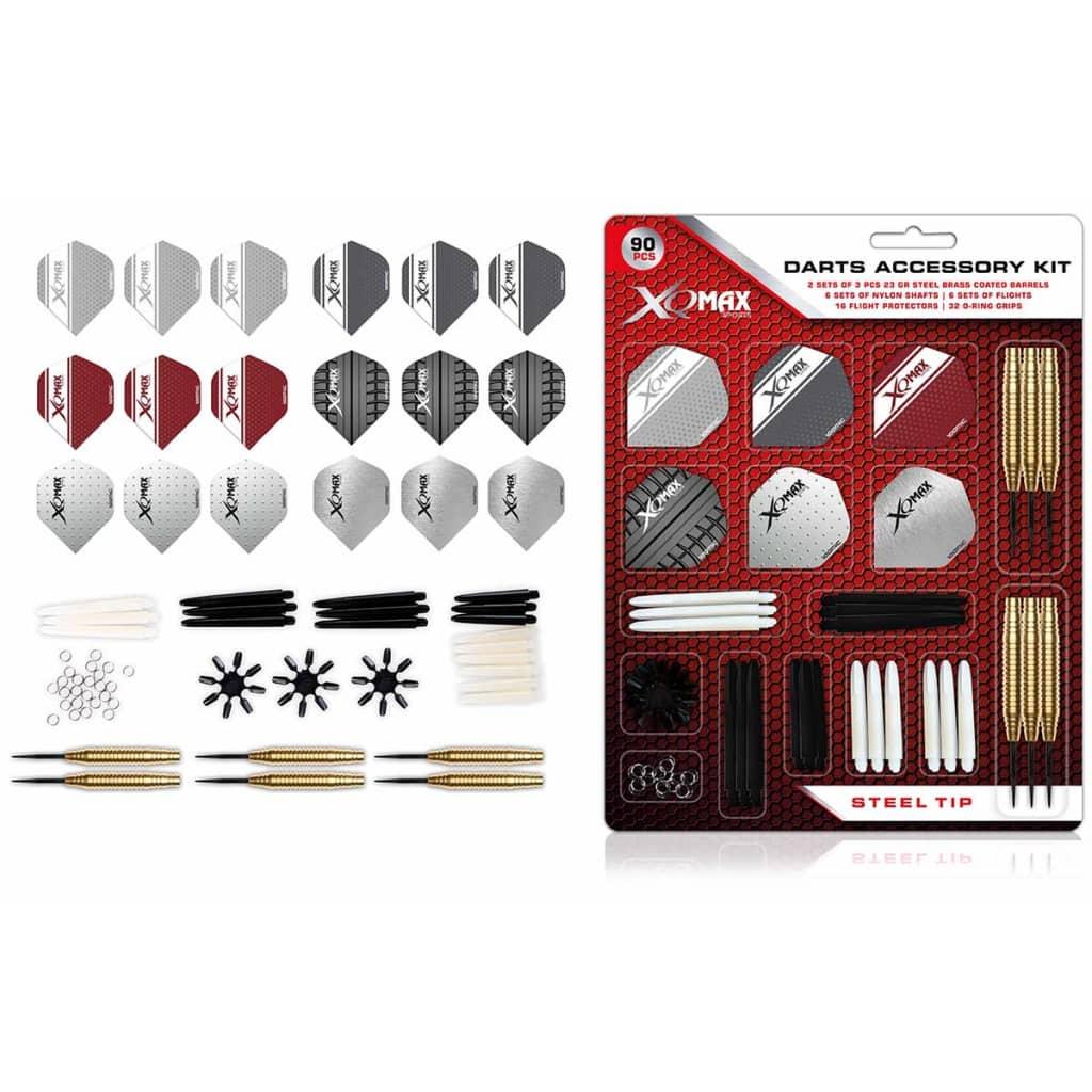 XQmax Darts Dartpilar set 90 delar tillbehörskit 23g stålspets QD7000700