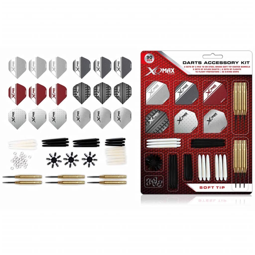 XQmax Darts Set accesorii, 90 piese, 18 g, vârf moale, QD7000710 poza 2021 XQmax Darts