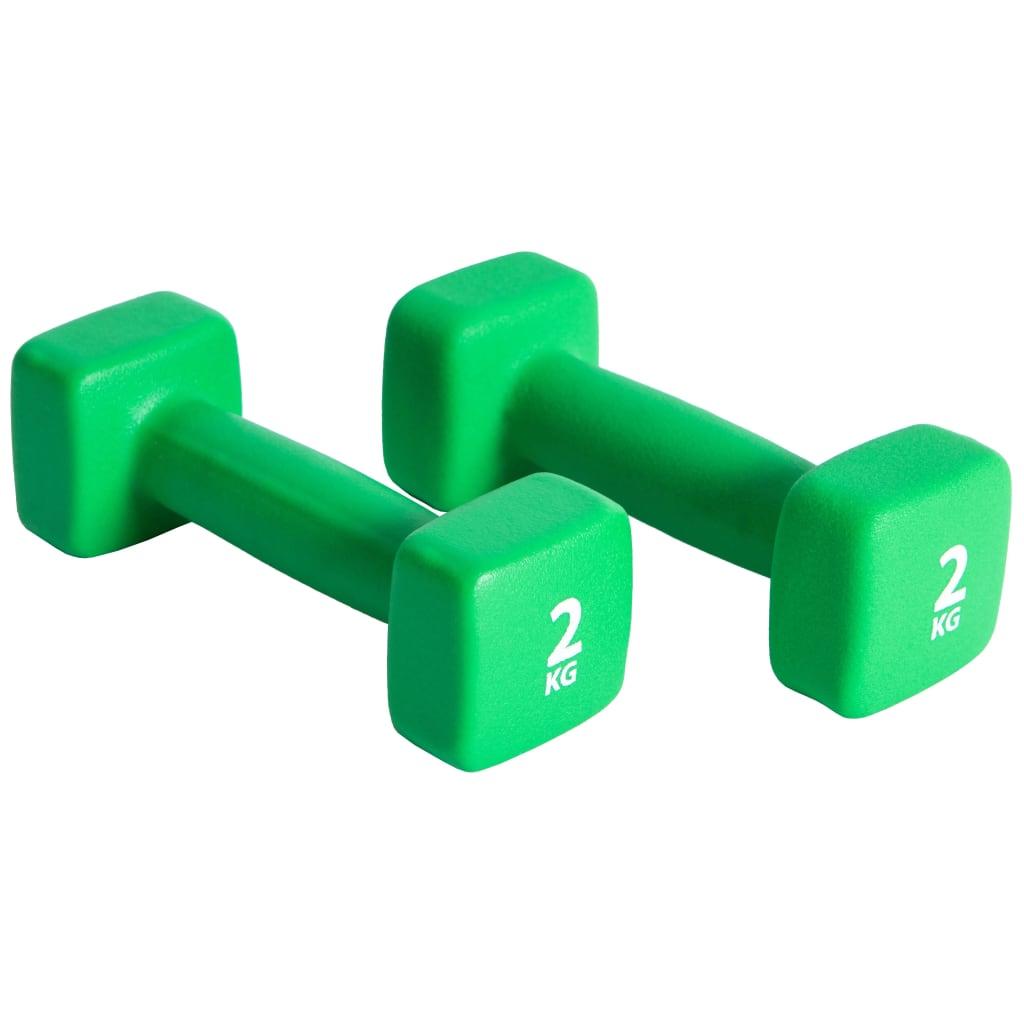 Pure2Improve Set de gantere, verde, 2 x 2 kg, neopren vidaxl.ro