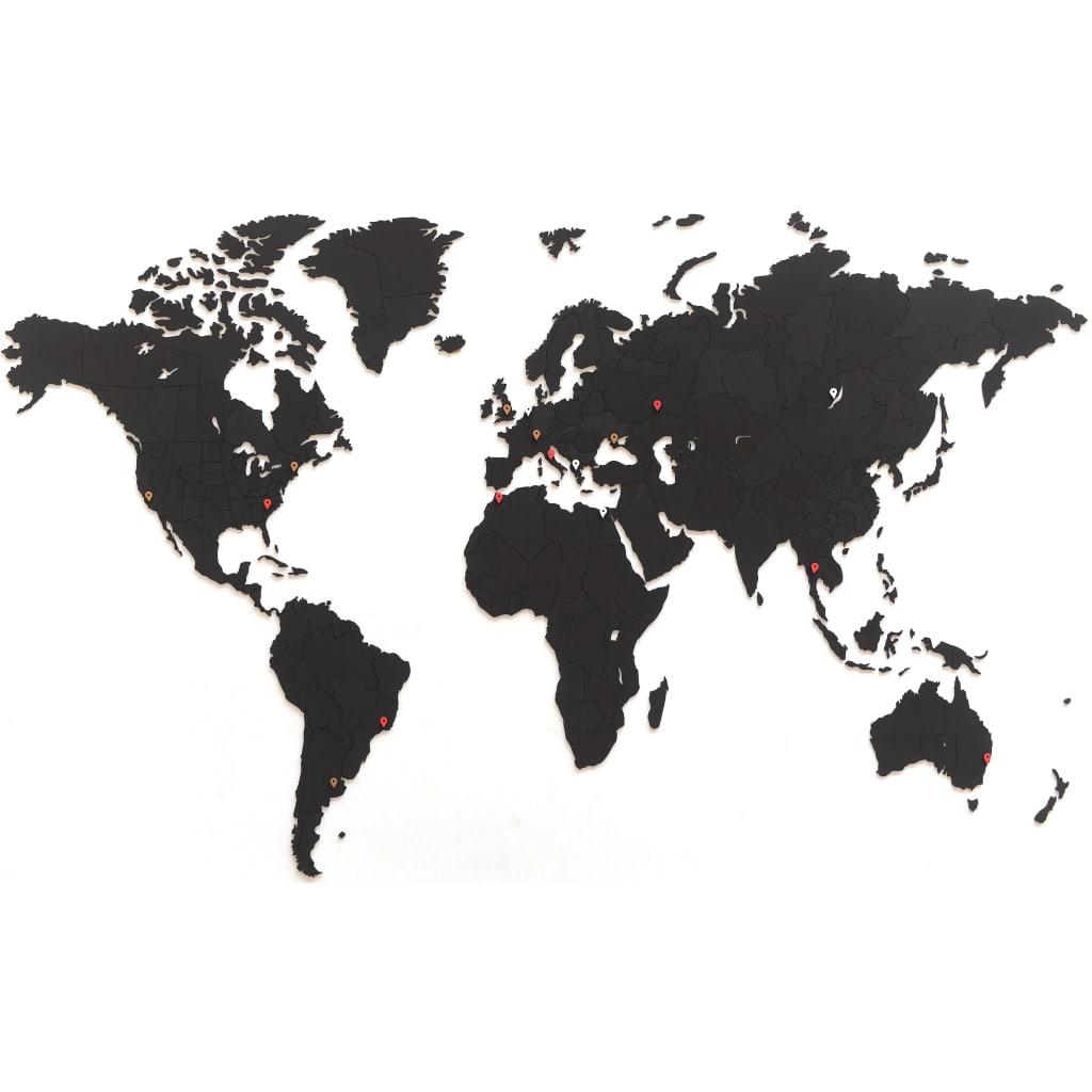 MiMi Innovations Wereldkaart muurdecoratie Luxury 150x90 cm zwart
