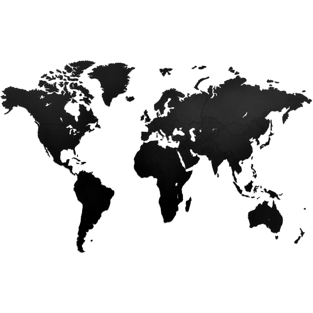 MiMi Innovations Decor perete harta lumii Luxury negru 130x78 cm lemn imagine vidaxl.ro