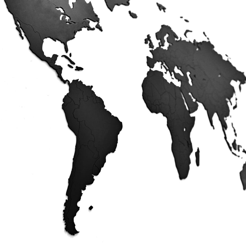 MiMi Innovations Wereldkaart muurdecoratie Luxury 130x78 cm hout zwart