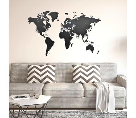 MiMi Innovations Holz Weltkarte Wanddeko Schwarz 130x78cm Wandbild Dekoration