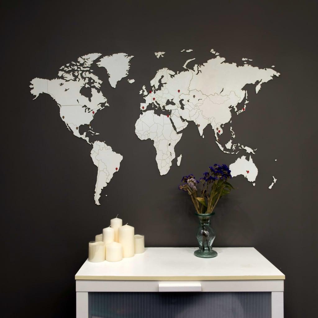 MiMi Innovations Wereldkaart muurdecoratie Luxury 130x78 cm hout wit