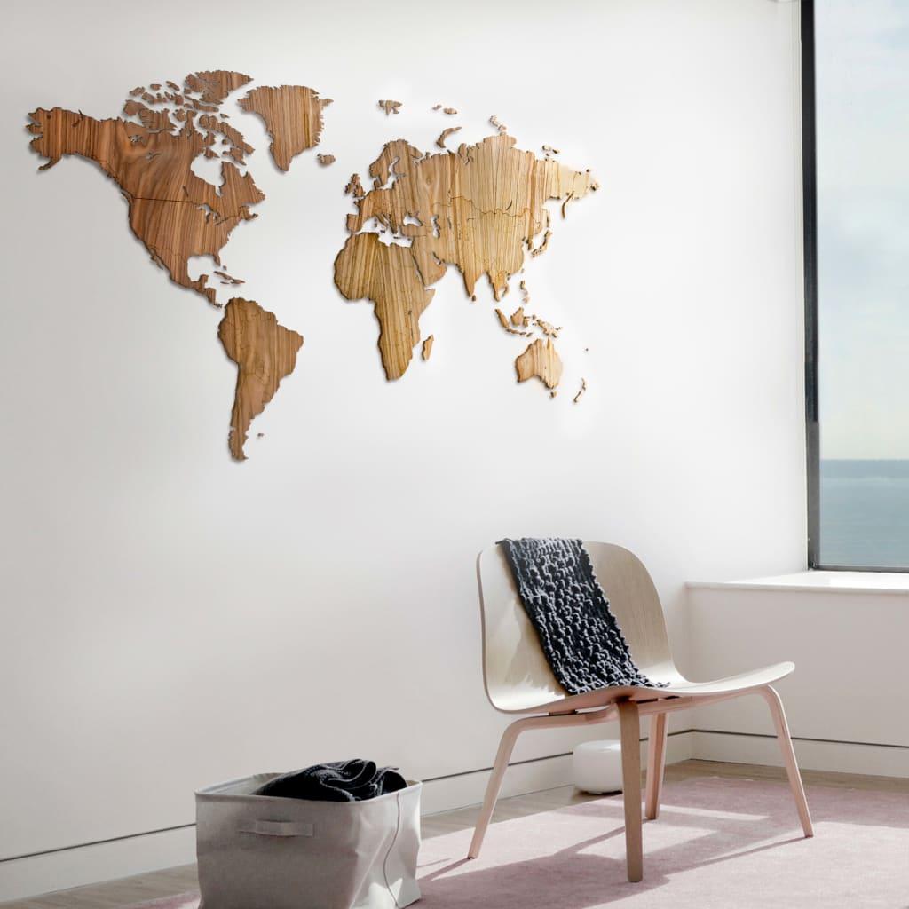 MiMi Innovations Wereldkaart muurdecoratie Exclusive 130x78 cm walnoot