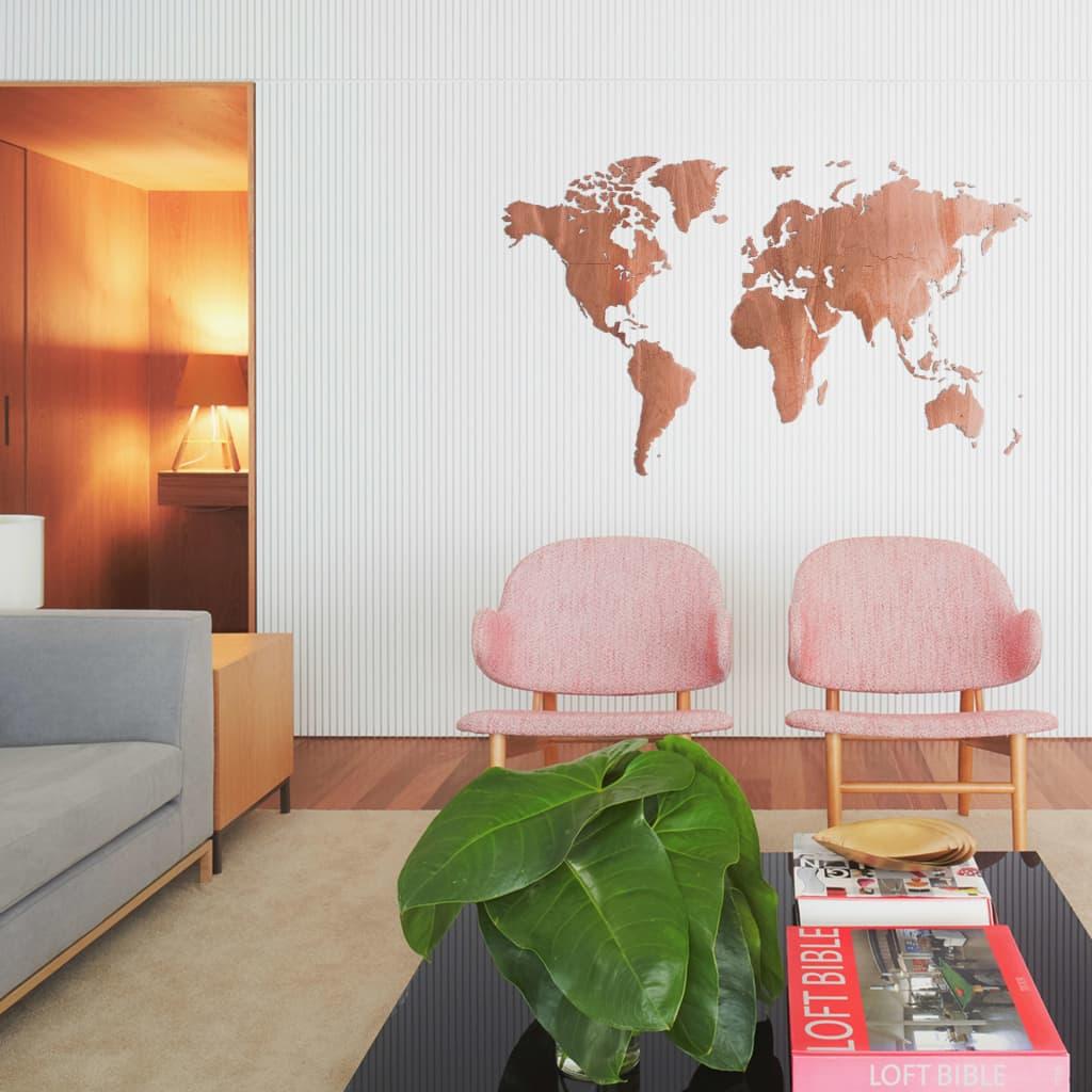 MiMi Innovations Wereldkaart muurdecoratie Exclusive 130x78 cm sapeli