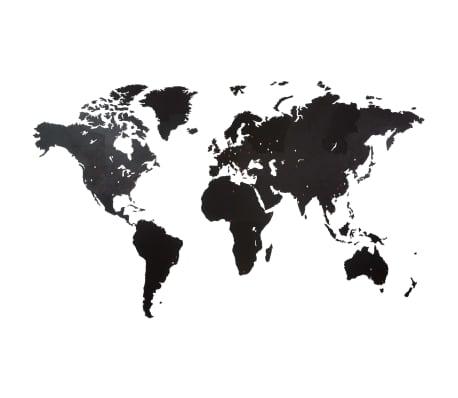 MiMi Innovations Décoration carte du monde murale Bois Noir 280x170 cm