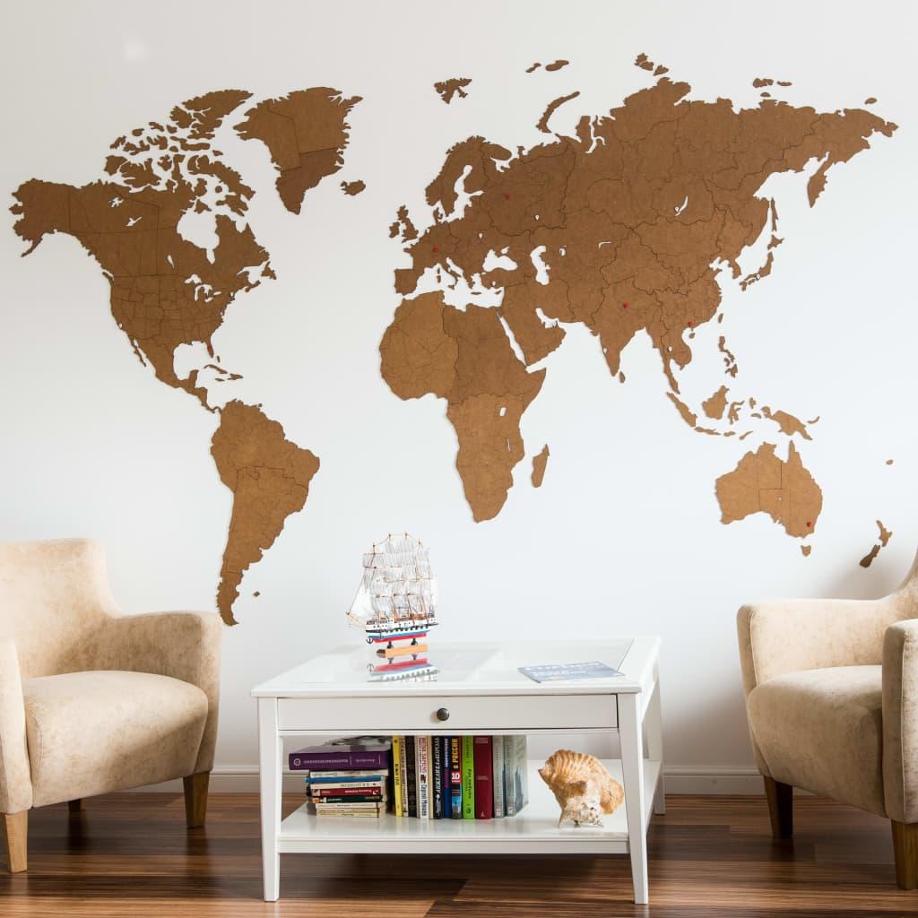 MiMi Innovations Wereldkaart muurdecoratie Giant 280x170 cm hout bruin