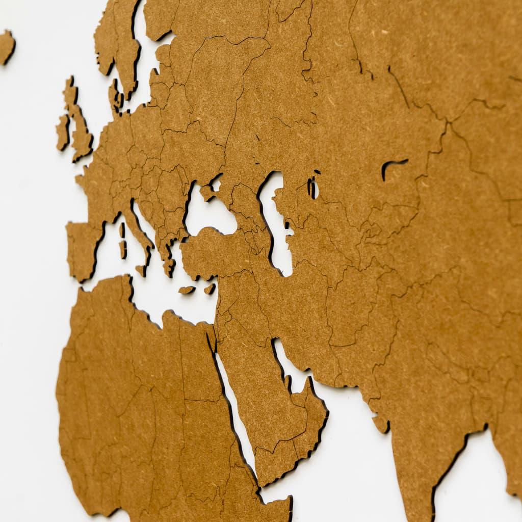 MiMi Innovations Wereldkaart muurdecoratie Luxury 180x108cm hout bruin