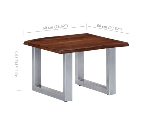 vidaXL Kavos staliukas, neapdirbt. krašto, 60x60x40cm, akac. med. mas.[8/12]
