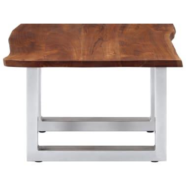 vidaXL Kavos staliukas, neapdirbt. krašto, 60x60x40cm, akac. med. mas.[3/12]
