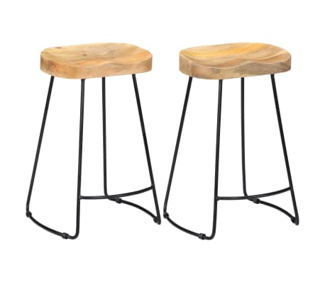 vidaXL Gavin Bar Stools 2 pcs Solid Mango Wood-picture