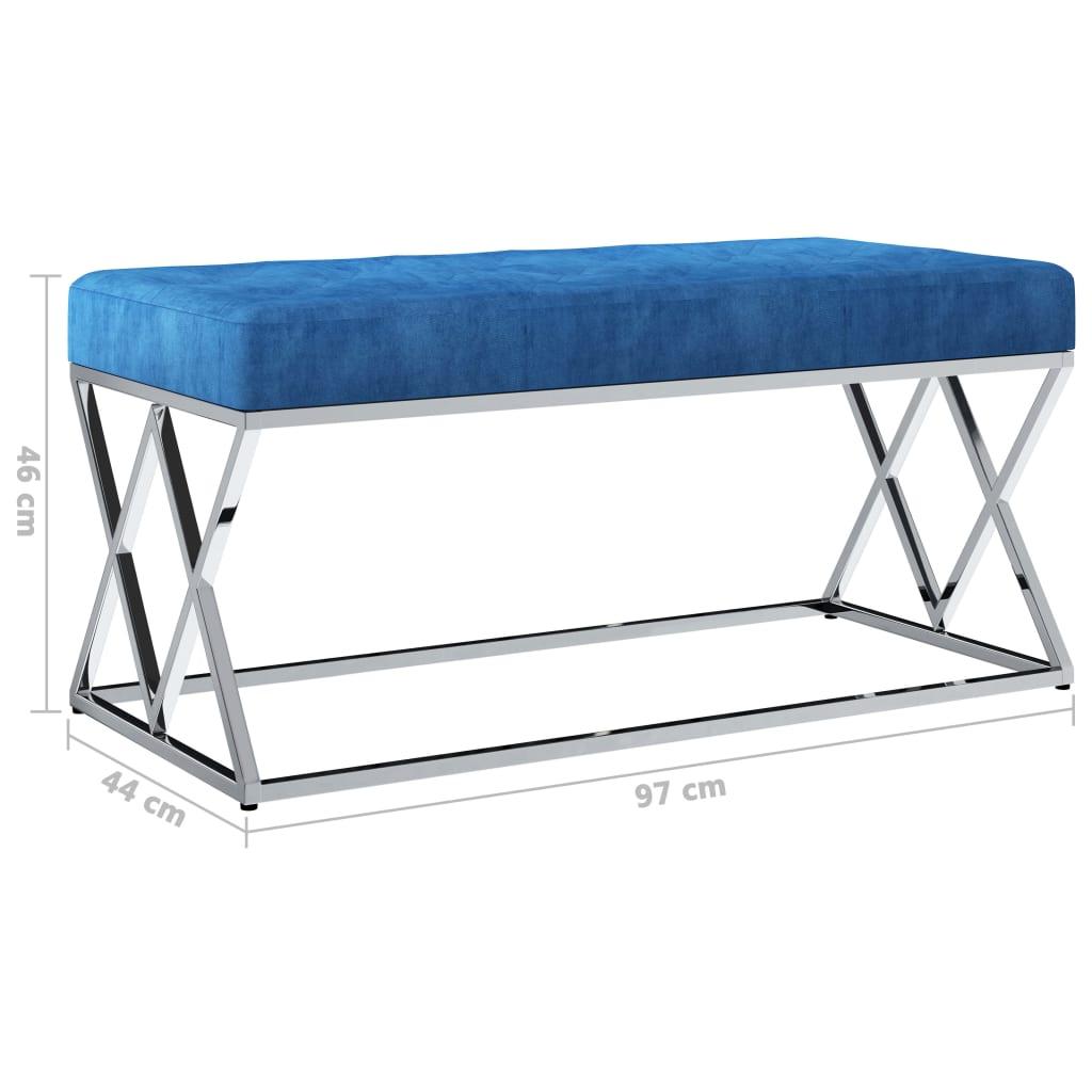 Bankje 97 cm fluweel en roestvrij staal blauw