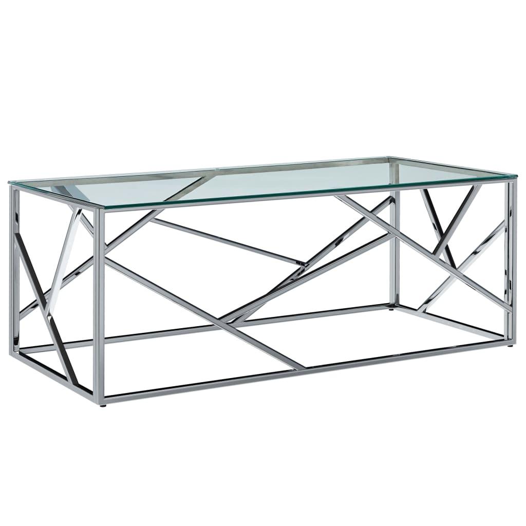 vidaXL Τραπέζι Σαλονιού Διαφανές 120x60x40 εκ. Ψημ. Γυαλί/Ανοξ. Ατσάλι