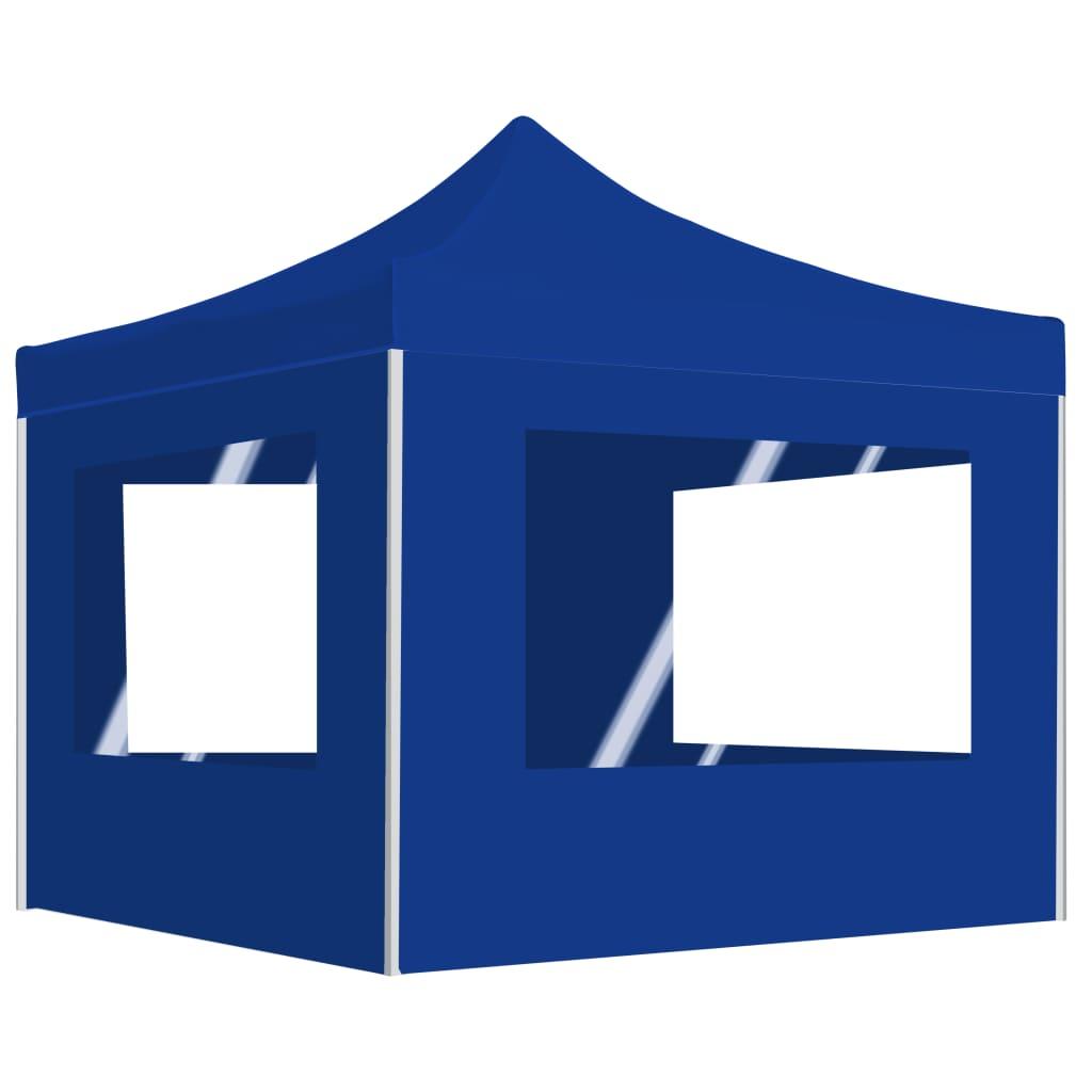 vidaXL Κιόσκι με Τοιχώματα Πτυσσόμενο Επαγγελματικό Μπλε 3 x 3 μ.
