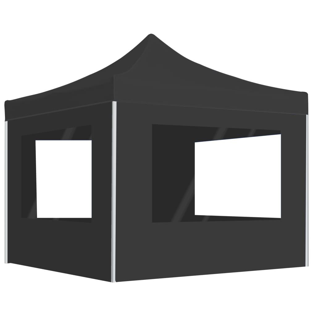 vidaXL Partytent inklapbaar met wanden 3x3 m aluminium antraciet