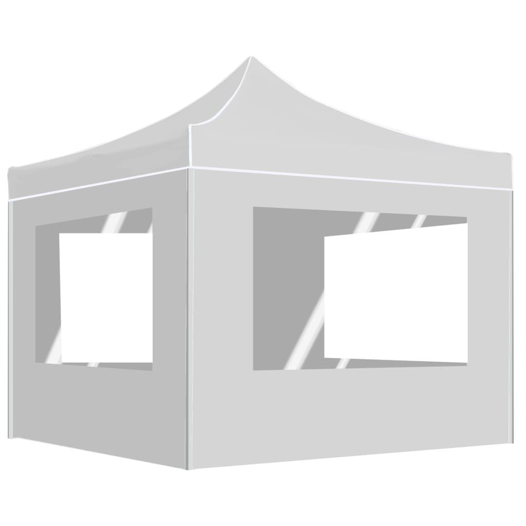 vidaXL Cort de petrecere pliabil cu pereți, alb, 3 x 3 m, aluminiu poza 2021 vidaXL