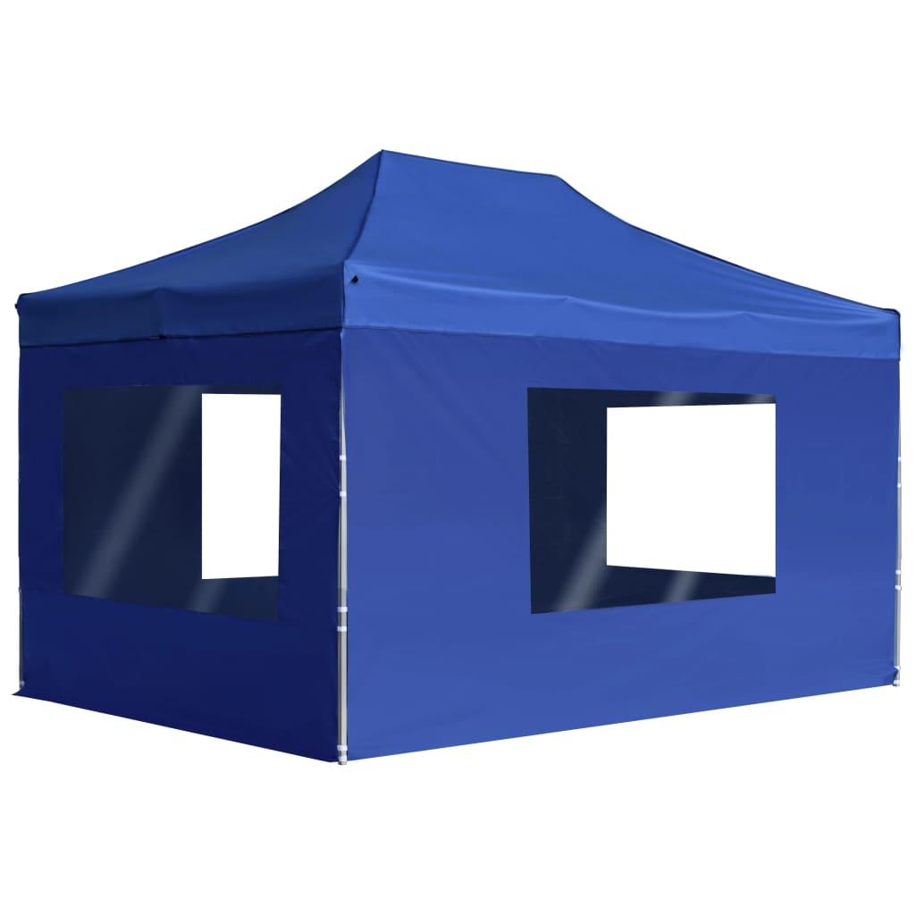 vidaXL Cort de petrecere pliabil cu pereți albastru, 4,5x3 m, aluminiu poza vidaxl.ro