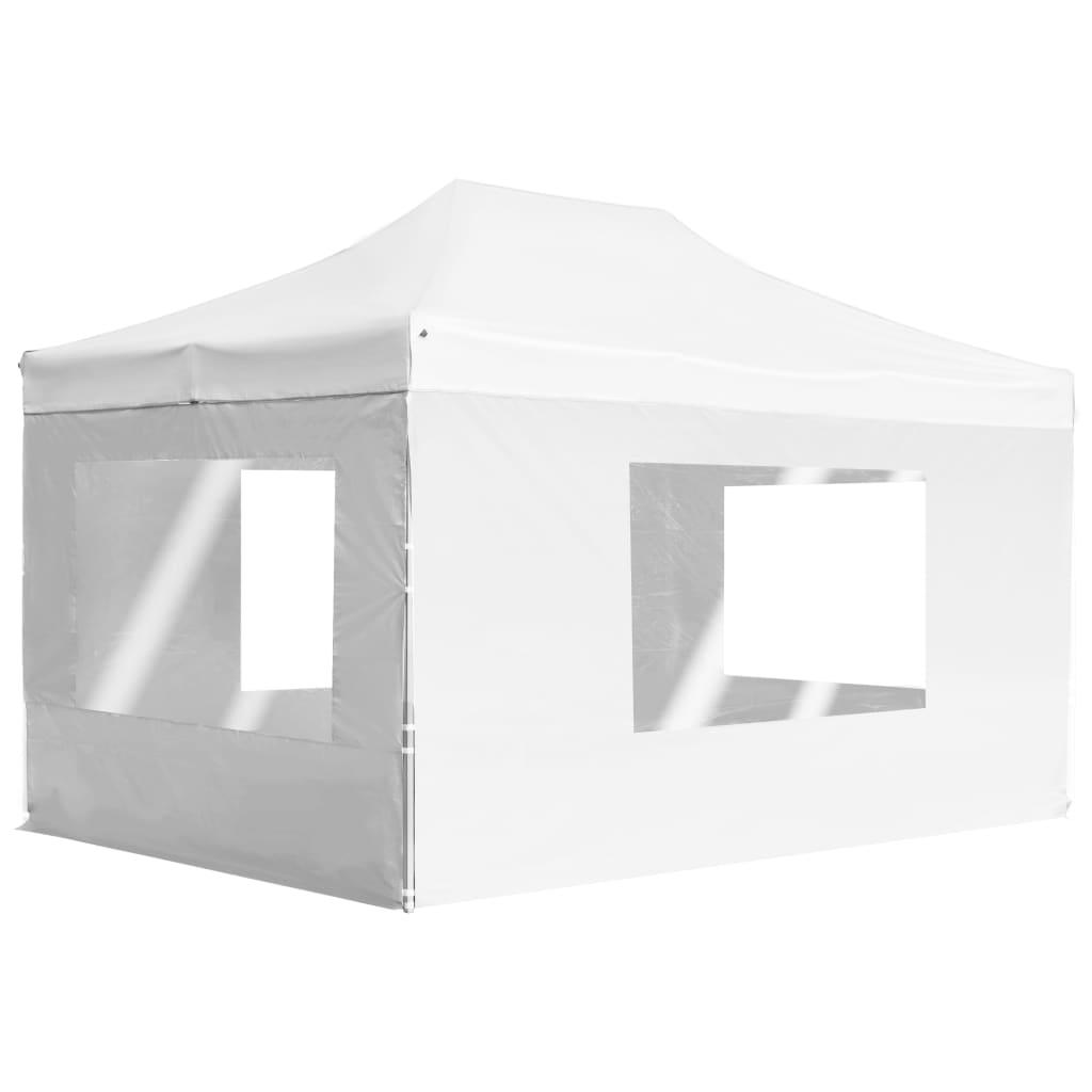 vidaXL Partytent inklapbaar met wanden 4,5x3 m aluminium wit