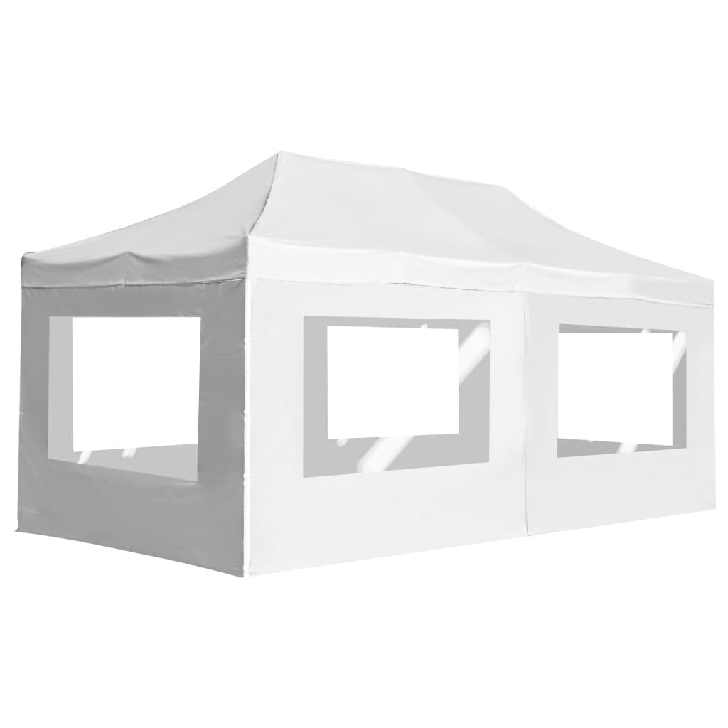 vidaXL Cort de petrecere pliabil cu pereți, alb, 6 x 3 m, aluminiu poza 2021 vidaXL