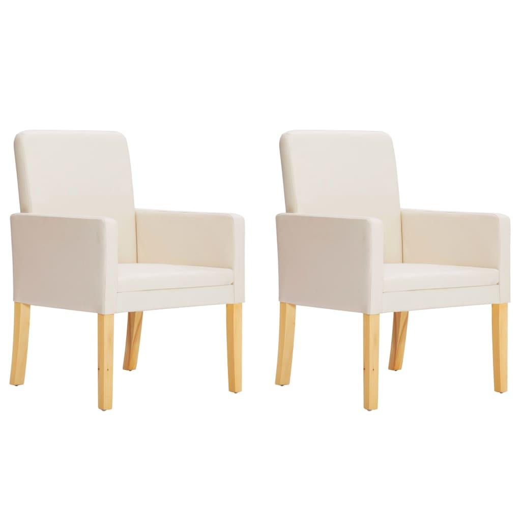 vidaXL Esszimmerstühle 2 Stk. Cremeweiß Kunstleder